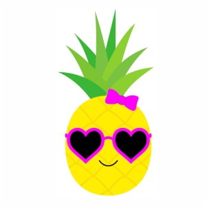 Cute Pineapple With Sunglasses vector