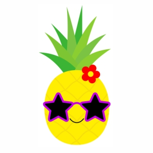 Cute pineapple character with sunglasses star svg file
