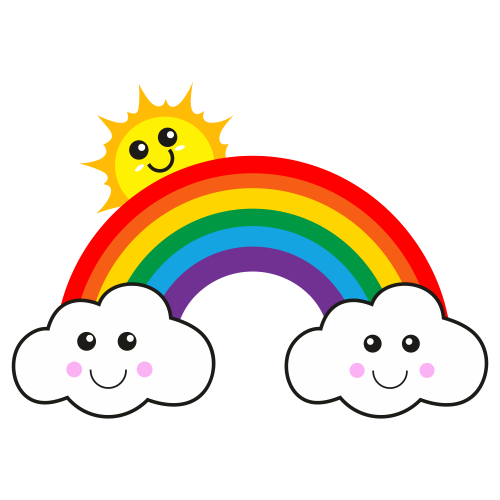 Rainbow With Sun And Cloud Svg