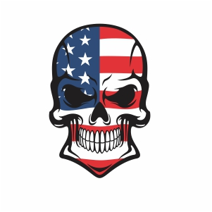 Skull head usa flag with grunge svg cut file