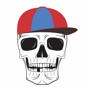 Skull head wearing a hat svg cut file
