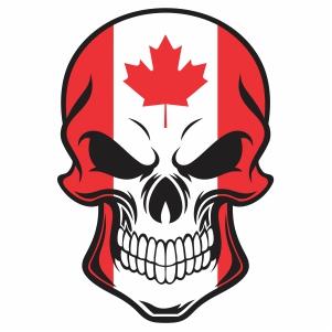 skull canada flag vector