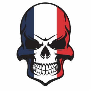 france flag skull vector design