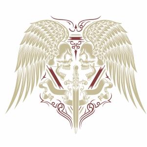 skull wings and sword vector file