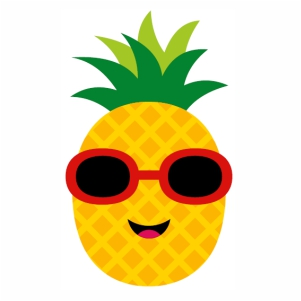 Cute Pineapple With Sunglasses Smile svg cut file
