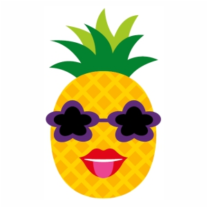 Pineapple With Sunglasses woman face svg