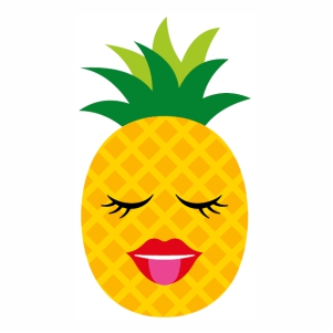 Pineapple character Woman Face svg cut