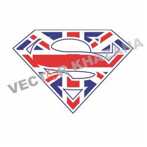 British Flag Superman Logo Vector
