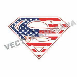 American Flag Superman Logo Vector