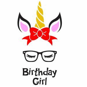 Unicorn Birthday Girl Vector