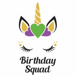 Unicorn Birthday Squad Vector