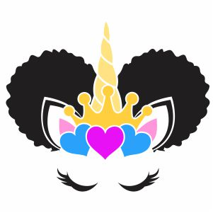 Afro Puff Unicorn Svg