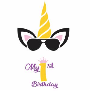 My 1st Birthday Unicorn Vector