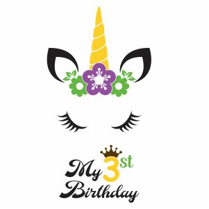 My 3rd Birthday Unicorn Svg
