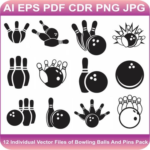 Bowling Ball And Pins Vector Bundle