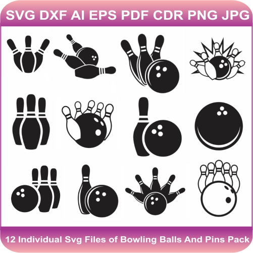 Bowling Ball and Pins Svg bundle