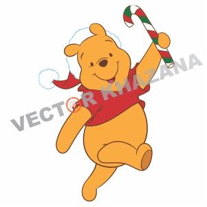 Christmas Winnie Pooh Logo Vector