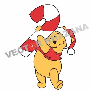 Winnie Pooh Christmas Logo Vector