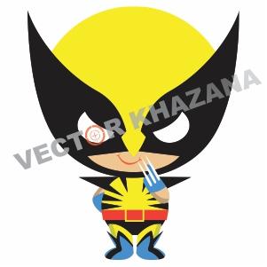 Wolverine Chibi Logo Vector