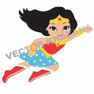 Wonder Woman Flying Vector